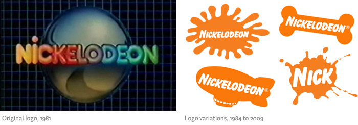Nickelodeon's previous logos