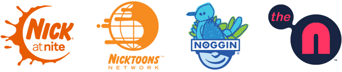 Past logos of Nick's sister channels (L-R): Nick at Nite, Nicktoons, Noggin, The N
