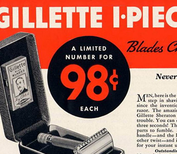 Gillette Sheraton advertisement, 1937 (Source: mr-razor.com)
