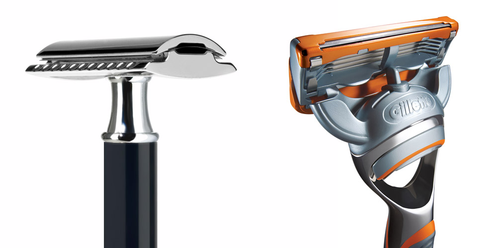 Traditional double edge safety razor (left) and the 5-blade Gillette Fusion Power