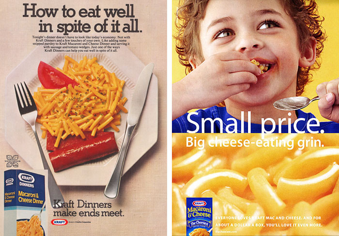 """How to eat well in spite of it all,"" promoting the low cost of Kraft Macaroni and Cheese (1975); Focusing on the kid-friendly aspect (2000s)"