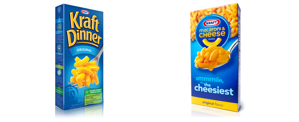 Fork or Spoon? Canadian Kraft Dinner (left) and American Kraft Macaroni and Cheese (right)