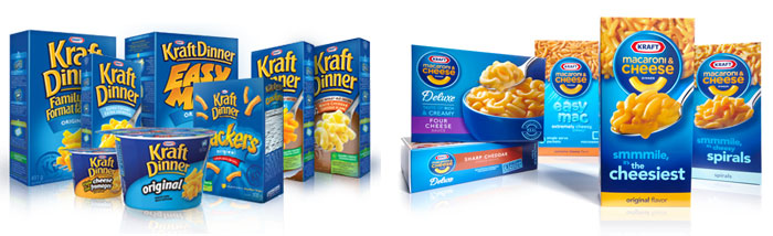 The Kraft Dinner family of products (left); Kraft Macaroni and Cheese family of products (right)