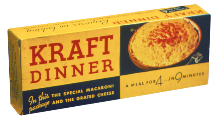 """A meal for 4… in 9 minutes,"" the first Kraft Dinner package (1936)"