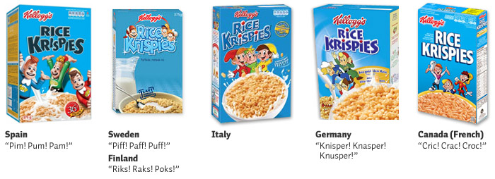 Rice Krispies (L-R): Spain, Sweden & Finland, Italy, Germany, French Canadian