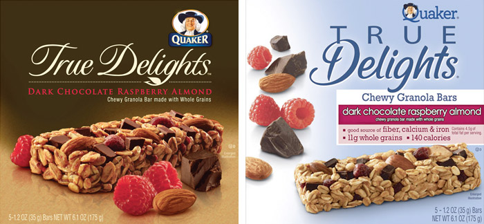 Packaging for Quaker's True Delights granola bars (both designed by the DuPuis Group): Before, 2009 (left); After, 2010 (right)