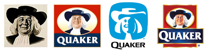 The Quaker Man evolves (left to right): Jim Nash, 1946; Haddon Sundblom, 1957; Saul Bass, 1972; Sundblom's design revisited, 2007