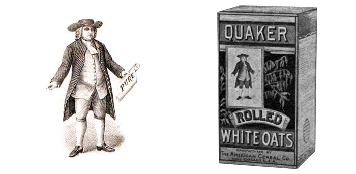 The Quaker Man first trademarked in 1877 (left); Quaker Oats packaging circa 1905 (right)