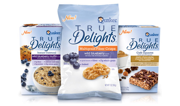 Packaging for Quaker's True Delights product line: Designed by the DuPuis Group, 2010