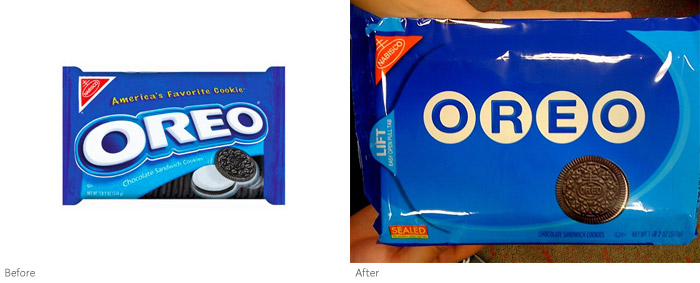 Oreo packaging (before and after), After photo by http://robotsmoverealfast.com