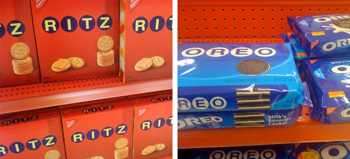 Vintage Ritz and Oreo on the shelves at Target, photos by Luke Dupont on Twitter