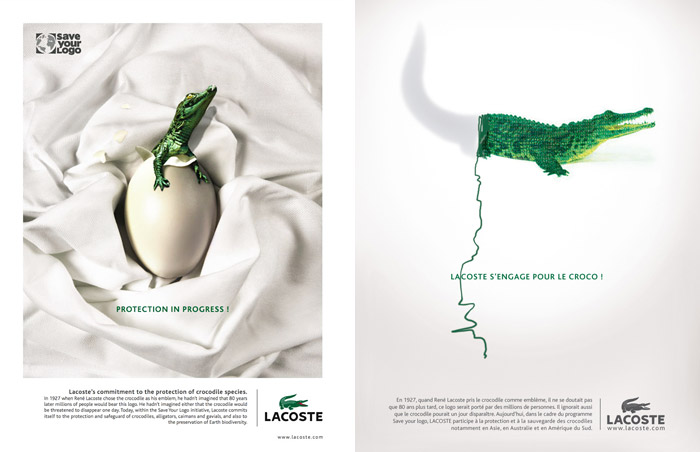 Advertising campaign announcing Lacoste's Save Your Logo initiative.