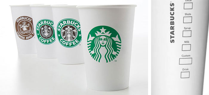 Starbucks cups from 1971, 1987, 1992, and 2011 (left); The backside of the new 2011 cup (right)