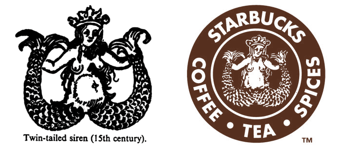 Illustration from A Dictionary of Symbols (left); Starbucks original 1971 logo (right)