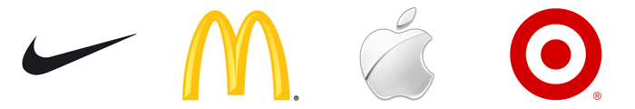 Nike, McDonald's, Apple, and Target logos