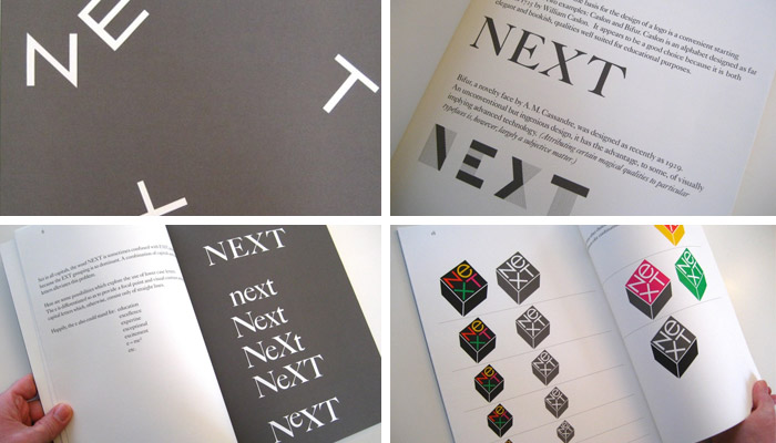 Pages from Paul Rand's NeXT brand presentation for Steve Jobs, Spring 1986 (Source: paul-rand.com)