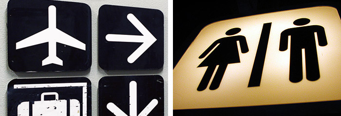 Symbols in use, Photo (left) by YaniG on Flickr, Photo (right) by massdistraction on Flickr