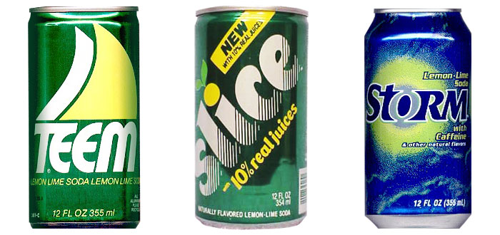 Pepsi's attempts lemon-lime soda: Teem, 1964 (Source: wikipedia.org); Slice, 1984 (Source: usasoda.com); and Storm, 1998 (Source: wikipedia.org)