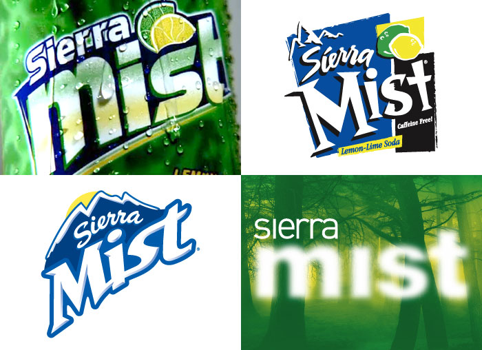 Sierra Mist logos over the years: 1999, 2001, 2006, 2008