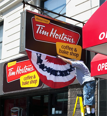 Goodbye Dunkin' Donuts, hello Tim Hortons. Photo by atomische, on Flickr.