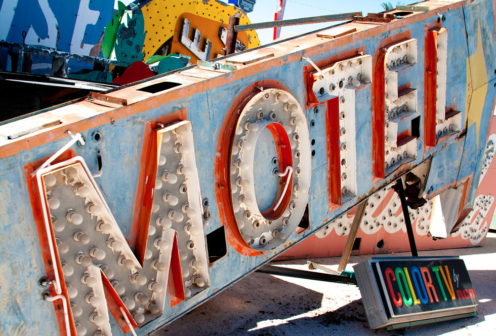 An old motel sign sits in the Neon Boneyard. All photos ©idsgn (Photographed with permission at The Neon Museum, Las Vegas, Nevada)