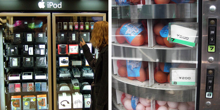 Everything from iPods (Photo: Nesster, Flickr) to eggs (Photo: antjeverena, Flickr) are sold in vending machines today