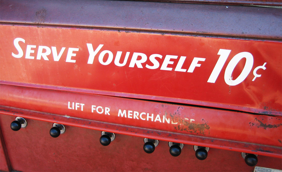 'Serve Yourself,' slogan found on an old vending machine (Photo: banky177, Flickr)
