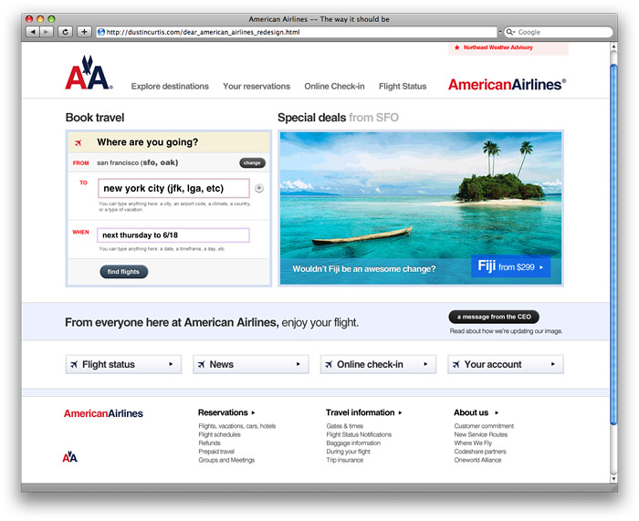 American Airlines (aa.com) front page, as designed by Dustin Curtis